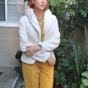 Vintage light cream faux fur jacket